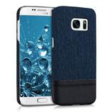 Hardcase Canvas Samsung Galaxy S7 Edge Blau-Schwarz