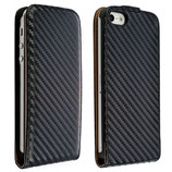 Carbon Leder Tasche für Apple iPhone 5 Case Hülle schwarz