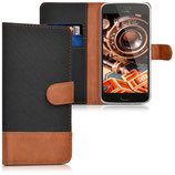 Wallet Case Motorola Moto G5 Plus Canvas Schwarz Braun