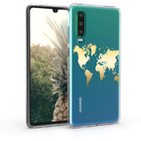 TPU Case Hülle Huawei P30 Weltkarte Gold