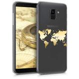 TPU Case Samsung Galaxy J6 Weltkarte Gold