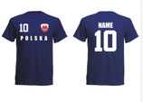 Polen WM 2018 T-Shirt Name/Druck Navy