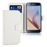 Wallet Ledertasche Samsung Galaxy S6 Edge Weiss