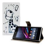 Leder Tasche Giraffe Sony Xperia Z1