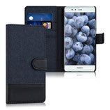 Wallet Case Huawei P9 Canvas Blau-Schwarz
