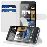 Wallet Leder Tasche HTC One M7 Weiss