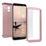 Komplett Hülle Samsung Galaxy A6 2018 Rose mit Display Glas