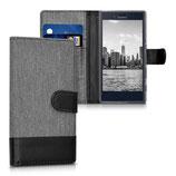 Wallet Case Sony Xperia X Compact Canvas Grau-Schwarz