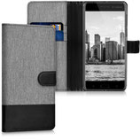 Wallet Case Hülle Nokia 6 Canvas Grau-Schwarz