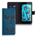 Wallet Case Hülle Wiko Pulp FAB 4G Dont Touch Blau