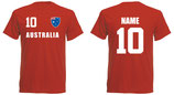 Australien WM 2018 T-Shirt Druck/Name Rot