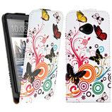 Flip Leder Tasche HTC One M7 Schmetterling