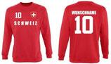 Schweiz Pullover EM 2016 Name/Druck Rot