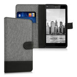 Wallet Case Hülle Wiko Robby Canvas Grau