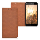 Flip Cover Case Hülle Wiko Robby Cognac