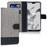 Wallet Case Huawei P20 Canvas Grau-Schwarz