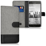 Wallet Case Motorola Moto G5 Plus Canvas Grau Schwarz