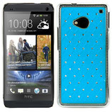 RHINESTONE HARD CASE FÜR HTC ONE M7 BLAU