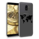 TPU Case Samsung Galaxy J6 Weltkarte Schwarz