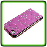 FLIP LEDERCASE STRASS LOOK FÜR APPLE IPHONE 5 PINK