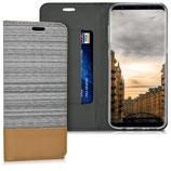 Flip Hülle Case Samsung Galaxy S8 Hellgrau Braun