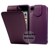 Leder Case für Apple iPhone 5, Etui Klappcase Flipcas Purple