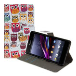 Ledertasche Sony Xperia Z1 Compact Eule