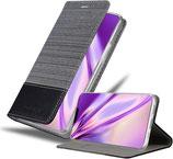 Flip Case Hülle Apple iPhone 12 /12 Pro Canvas Grau / Schwarz