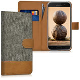 Wallet Case Canvas Hülle Samsung Galaxy A5 2017 Grau Braun