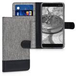 Wallet Case Hülle Nokia 6.1 (2018) Canvas Grau-Schwarz