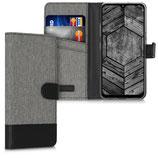 Wallet Case Hülle LG K41S Canvas Grau-Schwarz