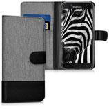 Wallet Case Samsung Galaxy J7 2017 Canvas Grau-Schwarz