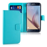Wallet Ledertasche Samsung Galaxy S6 Edge Hellblau