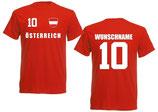 Österreich T-Shirt EM 2016 Name/Druck Rot