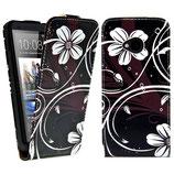 Flip Leder Tasche HTC One M7 Blumen Schwarz