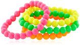 80er Jahre Perlen Armbänder Neon 4er-Set