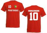 Portugal T-Shirt EM 2016 Name/Druck Rot