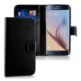 Wallet Ledertasche Samsung Galaxy S6 Edge Schwarz