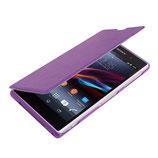 Leder Flip Hülle Sony Xperia Z1 Lila
