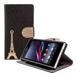 Leder Tasche Eiffelturm Sony Xperia Z1