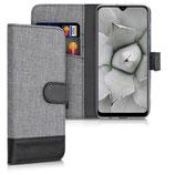 Wallet Case Samsung Galaxy A30s Canvas Grau-Schwarz
