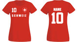 Schweiz WM 2018 T-Shirt Damen Rot