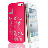 Hard Case Schmetterling f Apple iPhone 5 Cover Hülle Pink