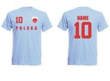 Polen WM 2018 T-Shirt Name/Druck Skyblau