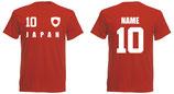 Japan WM 2018 T-Shirt Druck/Name Rot