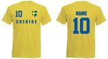 Schweden WM 2018 T-Shirt Druck/Name Gelb