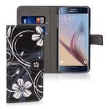 Wallet Ledertasche Samsung Galaxy S6 Edge Blumen Schwarz