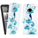 Flip Leder Tasche HTC One M7 Blau Blumen