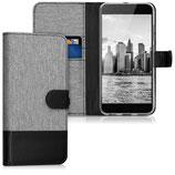Wallet Case Xiaomi Mi 5X / Mi A1 Canvas Grau-Schwarz