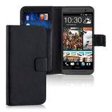 Wallet Ledertasche HTC One M9 Schwarz